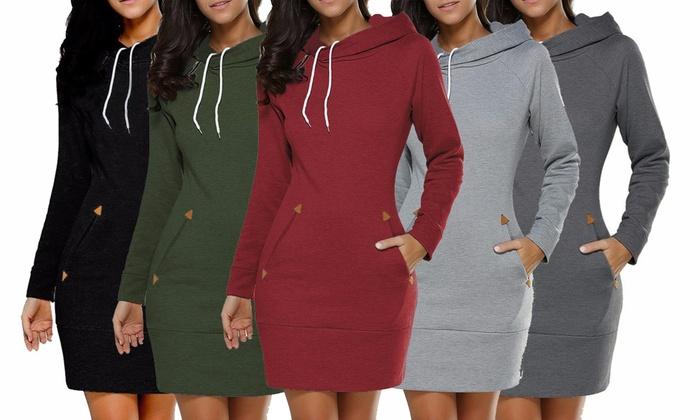 Bis zu 54% Rabatt Kleid mit Kapuze für Damen   Groupon d372d854ee