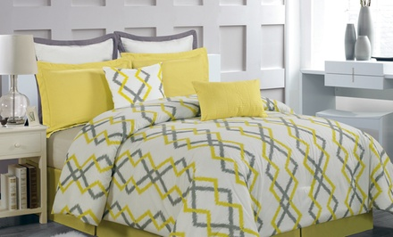 groupon daily deal - 8-Piece Luxury Overfilled and Oversized Comforter Sets in Queen or King. Free Returns.