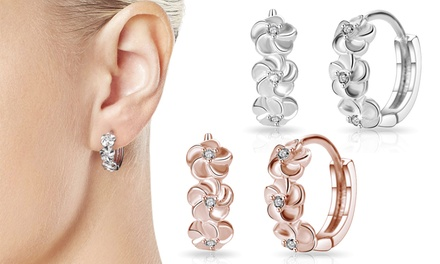 One, Two or Three Pairs of Philip Jones Flower Hoop Earrings with Crystals from Swarovski®