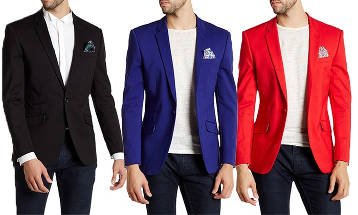 Men's Solid Slim Fit Sports Coat | Groupon Goods