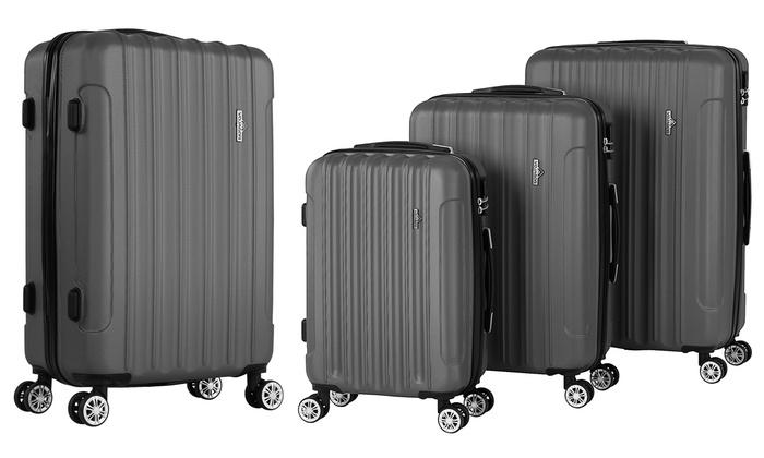 set de 3 valises rigides groupon. Black Bedroom Furniture Sets. Home Design Ideas