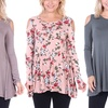 Women's Cold Shoulder Tunic Solid and Prints
