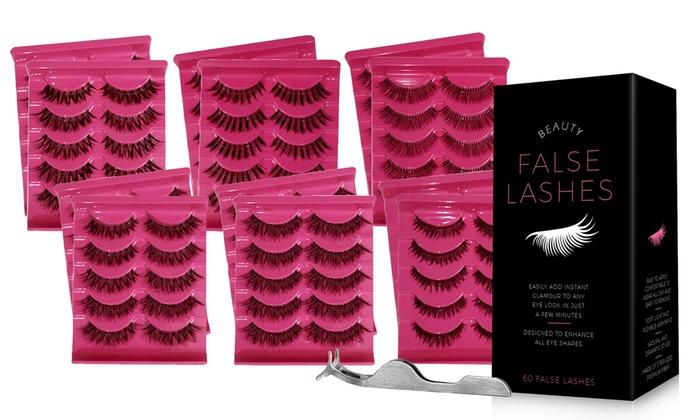 Up To 29% Off on False Eyelashes Pack w/ Tweezers | Groupon Goods