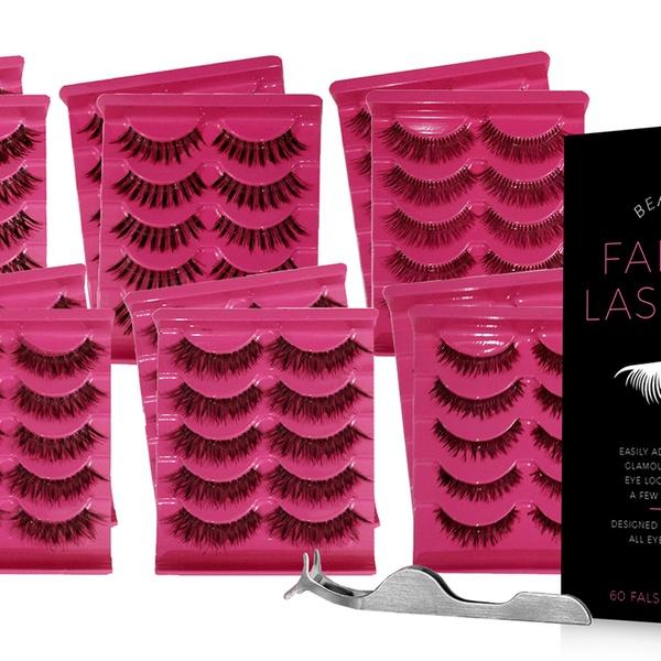 False Eyelashes Pack with Tweezers (60 Pairs)