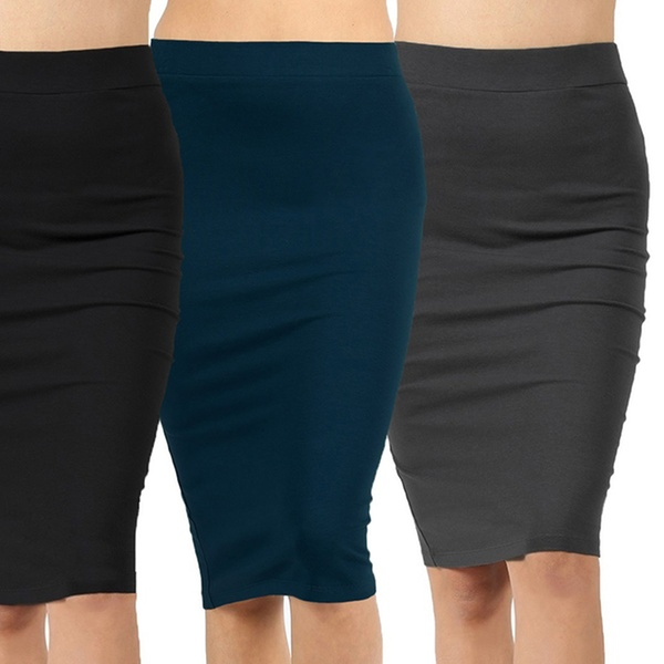 703eaa18ac Women's Knee-Length Cotton-Rich Pencil Skirt (3-Pack). Plus Sizes Available.