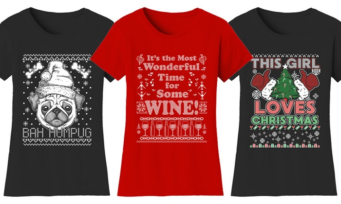 386ad2629 Women's Funny Ugly Christmas Sweater T-Shirt. Plus Sizes Available.