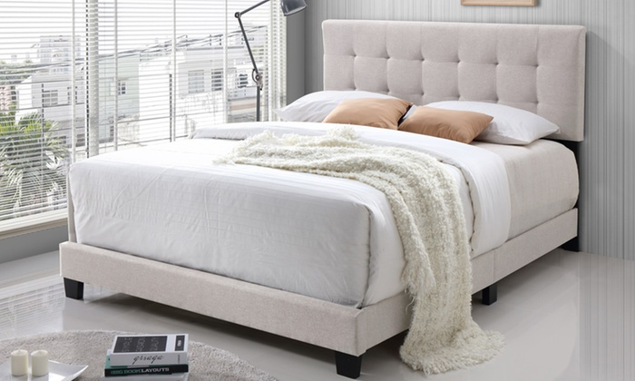Up To 62 Off on Brookfield Upholstered Bed Groupon Goods