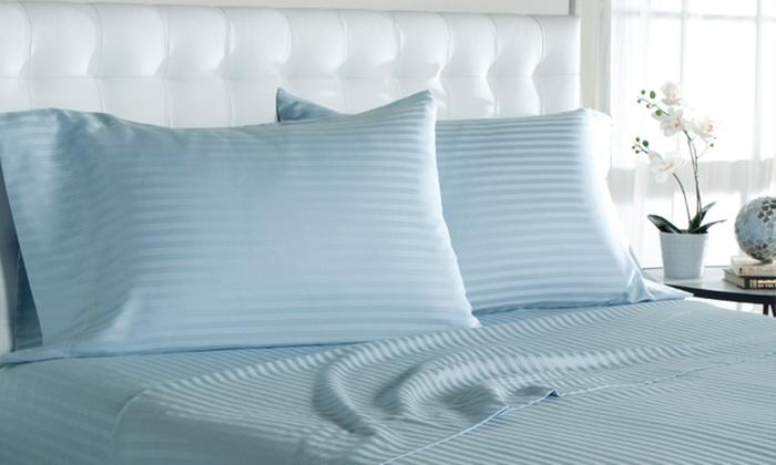 100% Cotton Woven Stripe Sheet Set: 100% Cotton Woven Stripe Sheet Set