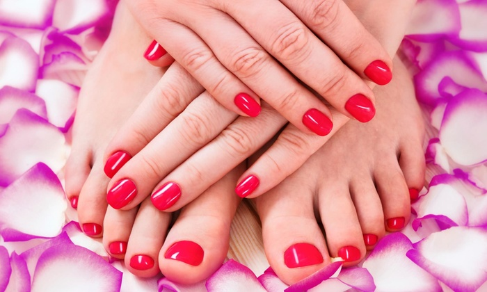 Glitz and Glitter Nail & Hair studio - Nampa: No-Chip Manicure and Pedicure Package from Glitz and Glitter Nail & Hair studio (55% Off)