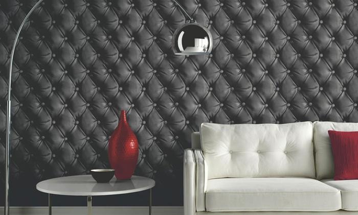 1 2 4 ou 6 rouleaux de papier peint imprim capiton groupon shopping. Black Bedroom Furniture Sets. Home Design Ideas
