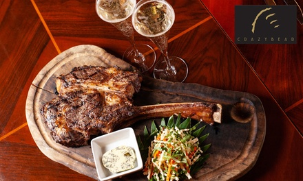 1kg Tomahawk or Tomapork steak and Premium Champagne For Two at The Crazy Bear £59 (51% Off) (Merchandising (UK))