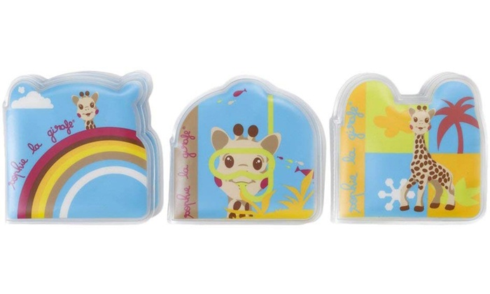 One or Two Sophie la Girafe Three-Piece Bath Book Sets