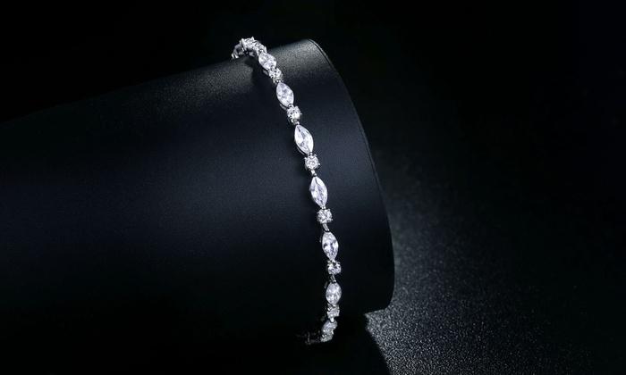 ff2701036 Tennis Bracelet in Sterling Silver made with Swarovski Elements