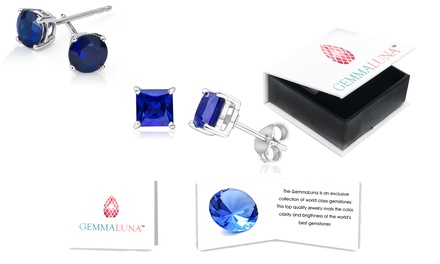 4.70 CTTW Round and Princess Sapphire Stud Earrings Set by Gemma Luna (2-Piece)