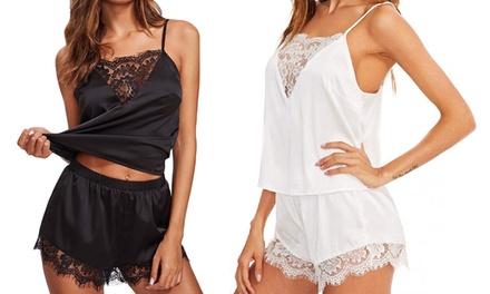 Lace VNeck Matching Pyjamas Set