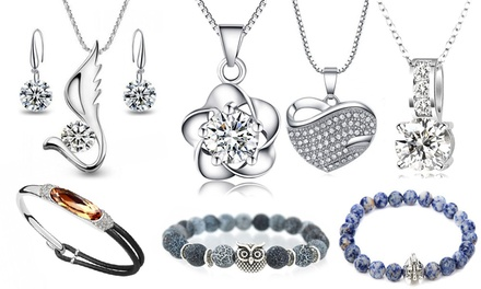 Bracelets and Necklaces with Zirconia Crystals and Natural Stones