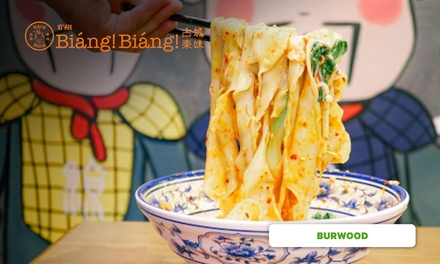 Noodle Dish for One ($9.90) or Two People ($19.80) at Biang Biang Burwood (Up to $33 Value)