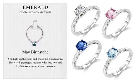 Philip Jones Ring mit Geburtsstein-Swarovski®-Kristallen in Silber nach Wahl