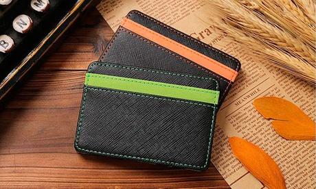 1 o 2 carteras slim con 4 espacios de almacenamiento externo para tarjetas