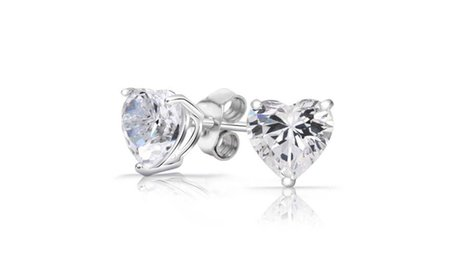 Heart Stud Earrings Made with Swarovski Elements in Sterling Silver