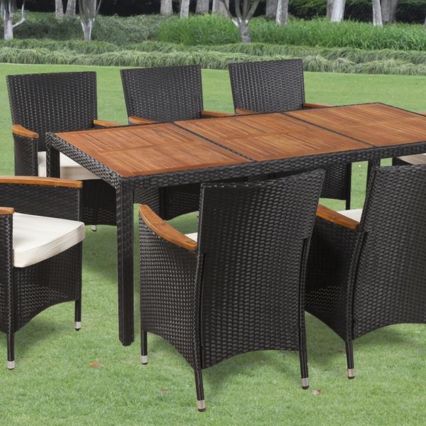Ensemble table résine tressée/ bois d\'Acacia avec 4, 6 ou 8 fauteuils