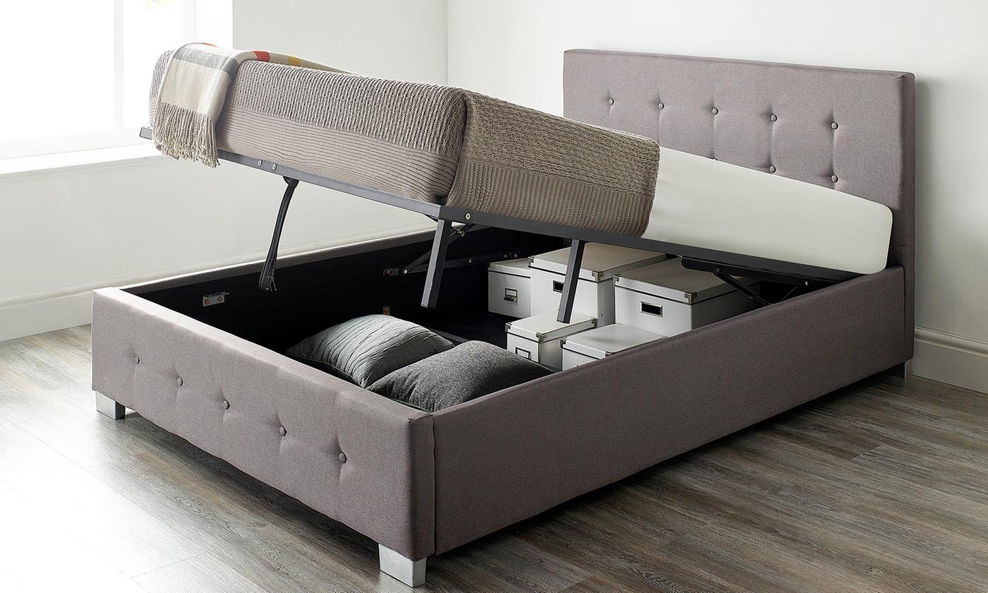 Fabric Ottoman Storage Bed with Optional Bonnell or Pocket Mattress for £159