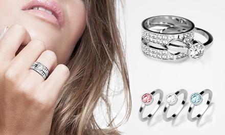 Conjunto de 3 anéis de prata com Swarovski Elements por 14,99€