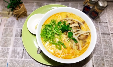 Chicken Laksa Soup + Soft Drink, Hot Tea or Miso Soup Each: 1 $12 or 2 Ppl $23 at Saigonese Cafe Up to $34 Value