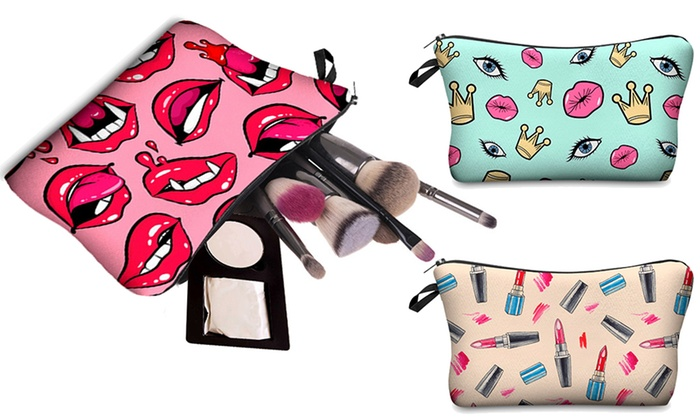 One, Two or Three Printed Makeup Bags