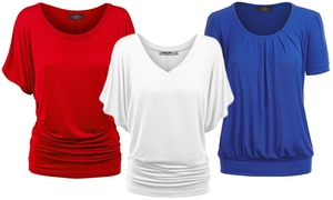 Made By Johnny Women's USA Patriotic Tops Collection. Plus Sizes Too.