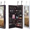 Lockable Wall Mount Mirrored Jewelry Cabinet Organizer