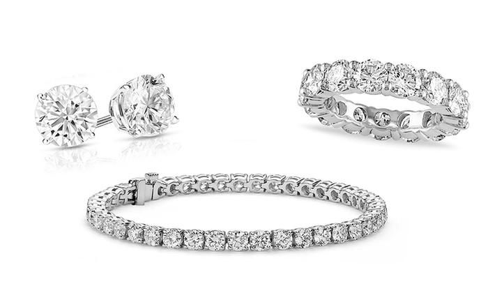 Eternity Ring, Tennis Bracelet & Earrings Made with Swarovski Crystals by Elements of Love