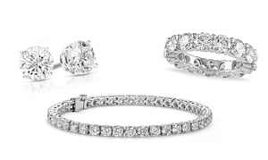 Eternity Ring, Tennis Bracelet & Earrings Made with Swarovski Elements