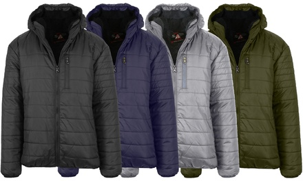 Spire By Galaxy Men's Sherpa-Lined Hooded Puffer Jacket (Sizes, S to 2XL)