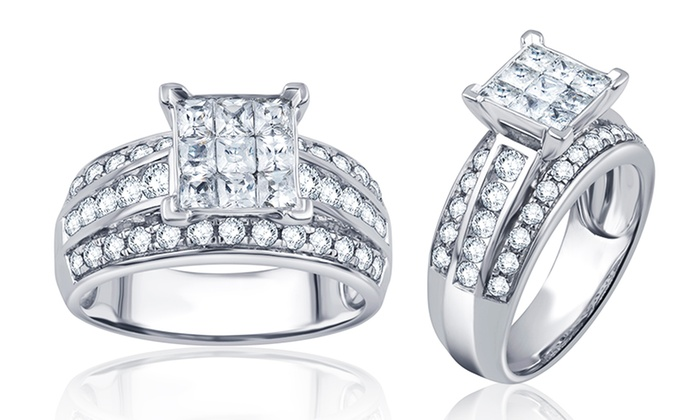 1.50 Cttw Round and Princess Diamond Engagement Ring in 10K White Gold