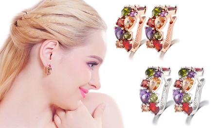 1x oder 2x Bunte Hoop-Ohrringe in Roségold oder Silber verziert mit Kristallen von Swarovski® (bis zu 83% sparen*)