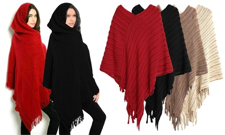 Fringe Hooded or Knitted Poncho