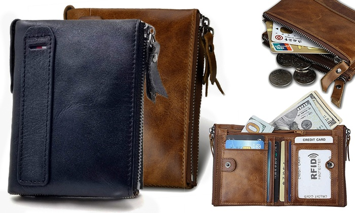 One or Two Men's RFID Genuine Leather Wallets (£8.99)