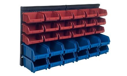 30-Bin Wall-Mounted Parts Rack