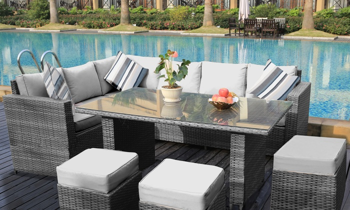 barcelona rattan sets in 2 styles groupon rh groupon co uk barcelona garden furniture set barcelona outdoor furniture cushions