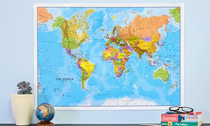 Carte Du Monde Plastifiee.Jusqu A 74 Affiche Carte Du Monde Plastifiee Groupon