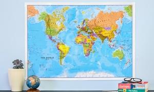 Affiche carte du monde plastifiée