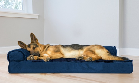 Plush Velvet Chaise-Lounge Sofa-Style Orthopedic Pet Bed