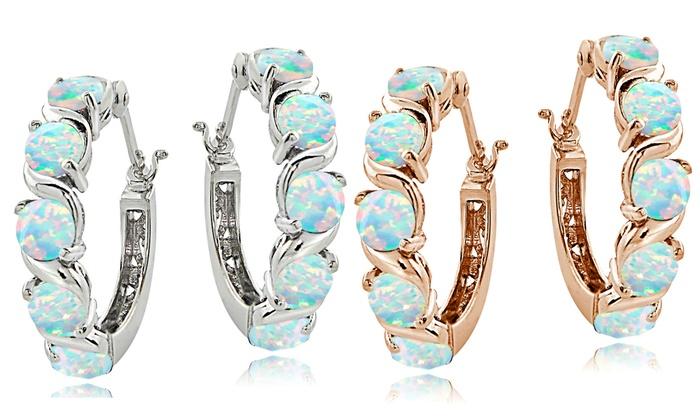3d57cccf9f6b8 White Opal S Design Hoop Earrings in Sterling Silver | Groupon