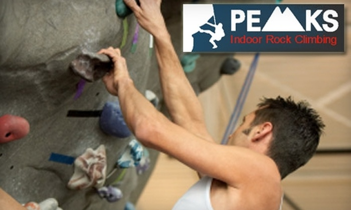 Peaks Indoor Rock Climbing - Grantham: $39 for a Indoor Rock-Climbing Beginner Lesson and One-Month Membership at Peaks Indoor Rock Climbing (Up to $105 Value)