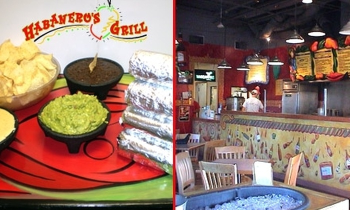 Habanero's Grill - Multiple Locations: $5 for $10 Worth of Fresh Mexican Fare at Habanero's Grill