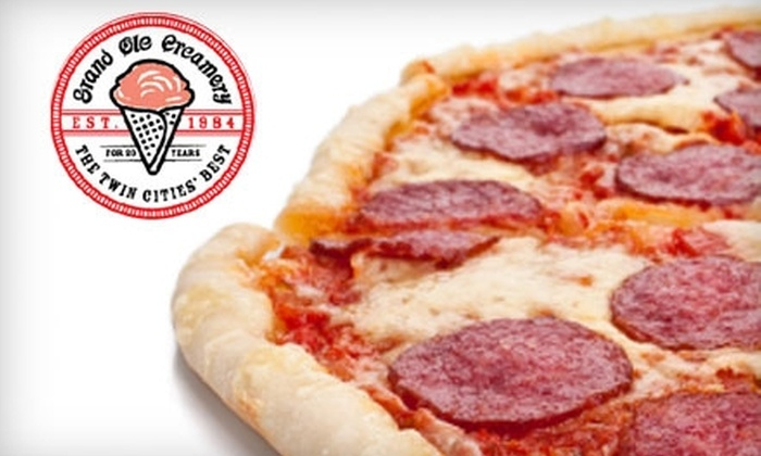 Grand Ole Creamery - Summit Hill: $12 for a Large 16-Inch Artisan Pizza and Pint of Ice Cream at The Grand Ole Creamery (up to $24 Value)