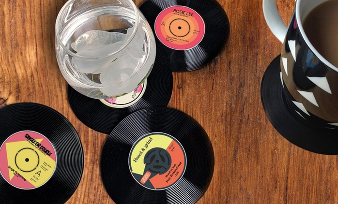 6, 12 or 24 Vinyl Coasters from £2.98 (80% Off)