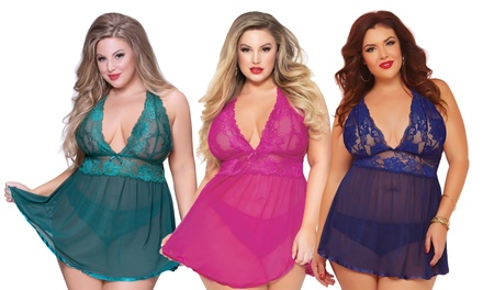 Plus Size Two-Piece Lingerie Set