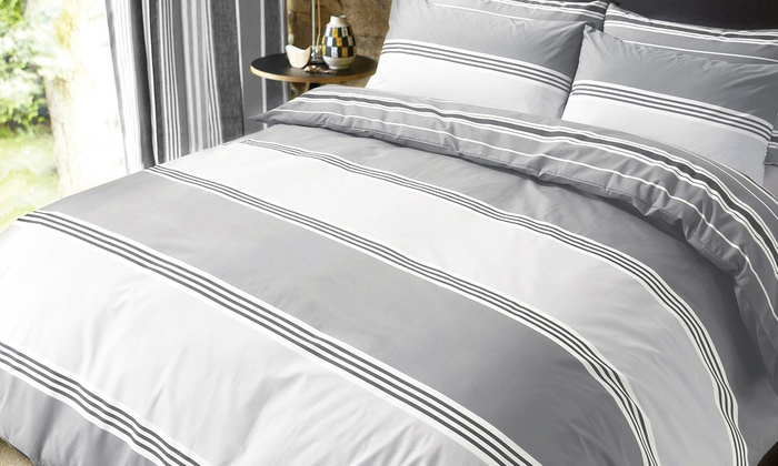 Pieridae Banded Stripe Duvet Cover Set in Choice of Colour for £8